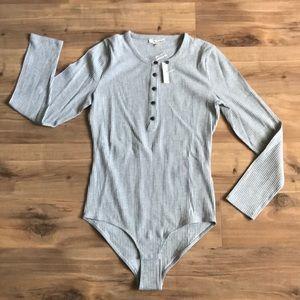 Madewell Grey Ribbed Bodysuit
